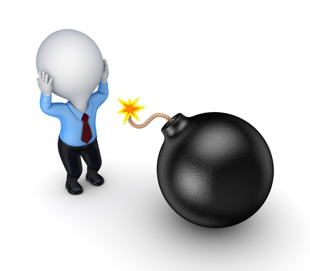 3d small person and black bomb  Stock Photo - 15614517