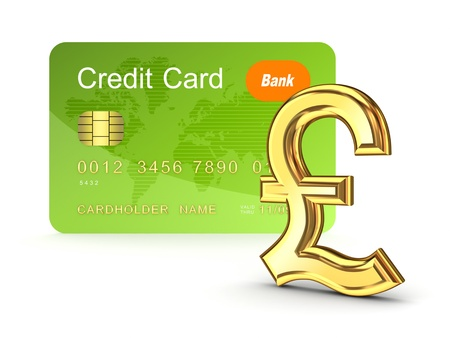 pound sterling: Credit card and pound sterling sign