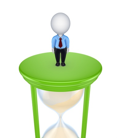 3d small person standing on a sand glass Stock Photo - 15614365