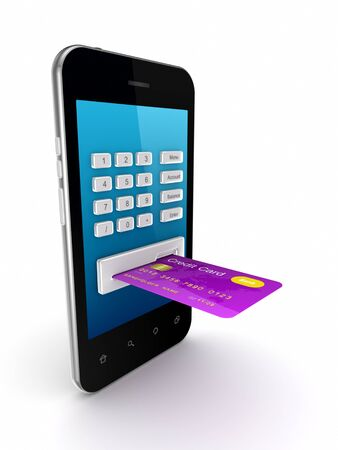 Colorful credit card connected to mobile phone  Stock Photo - 15614370
