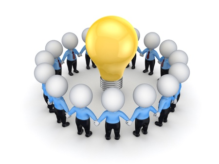 3d small people around yellow bulb Stock Photo - 15614340