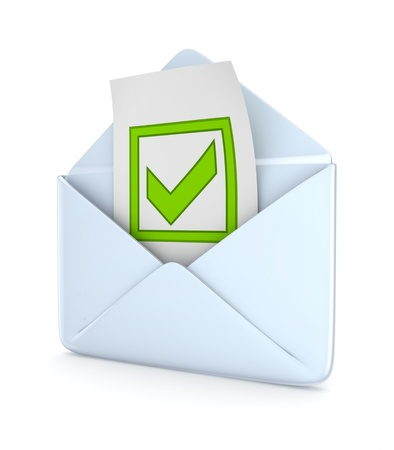 web mail: Envelope with a green tick mark