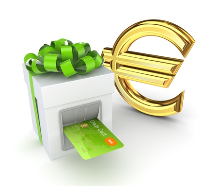 christmas debt: Credit card inserted in a gift box and euro sign