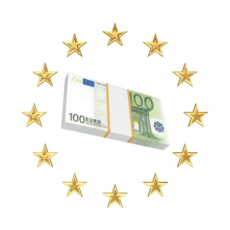 European Union symbol and pack of euro  photo