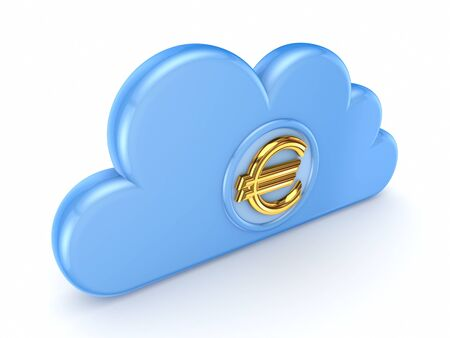 Blue cloud and eurosign  Stock Photo - 15614361