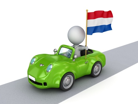 Small person on orange car with Netherlands flag  photo