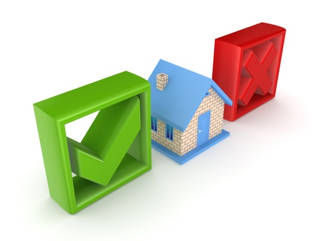 Small house between tick and cross mark Stock Photo - 15614373