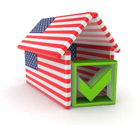 Tick mark under the roof made of  american flags Stock Photo - 15614531