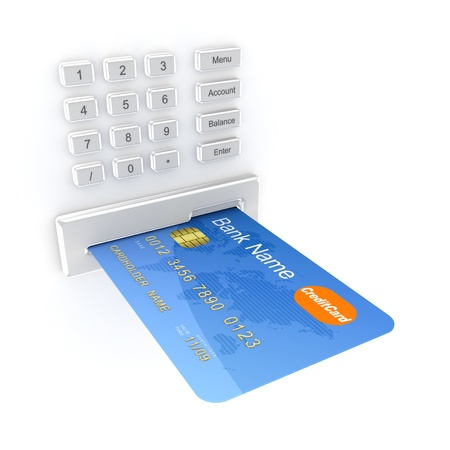 bank overschrijving: ATM-concept Stockfoto