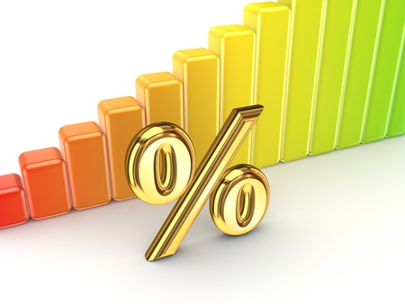 equities: Colorful graph and percent symbol  Stock Photo
