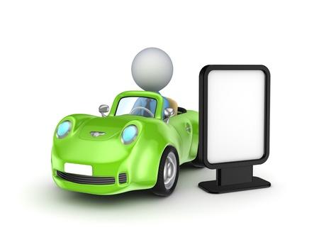 man driving: Green car and lightbox