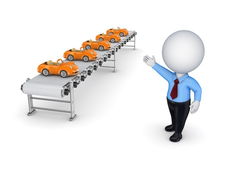 conveyor: 3d small person points to the conveyor with little cars