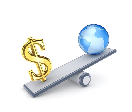 Dollar sign and globe on a scales  Stock Photo - 15623132