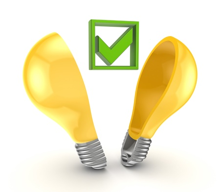 Green tick mark inside yellow bulb  Stock Photo - 15623134