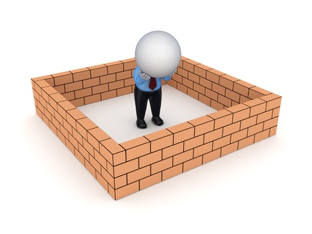 3d small person behind brick wall  photo