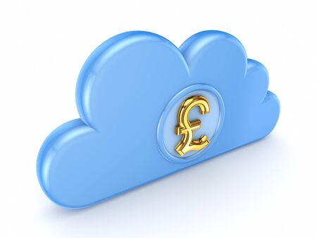 Blue cloud and pound sterling sign Stock Photo - 15648993