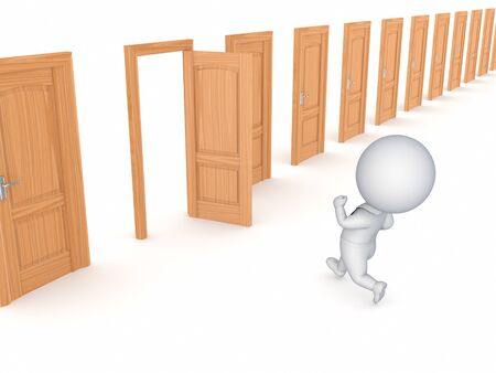 3d small person running through opened door  photo