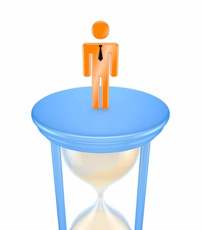 3d small person standing on a sand glass
