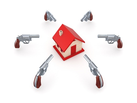 Revolvers around red house  Stock Photo - 15649020