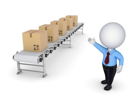 conveyor: 3d small person points to the conveyor with carton boxes  Stock Photo