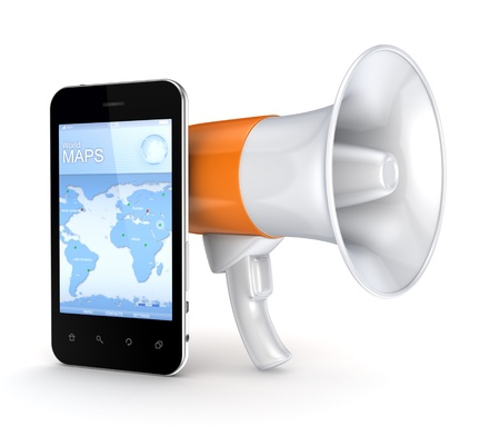 speaking trumpet: Speaking trumpet and modern mobile phone  Stock Photo