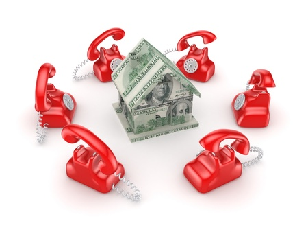 Red vintage telephones around 3d small house  Stock Photo - 15668854