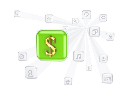dolar: Dolar sign icon between other icons