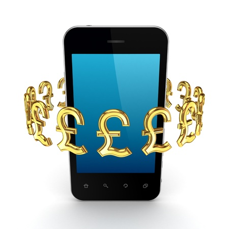Pound sterling signs around mobile phone  Stock Photo - 15668915