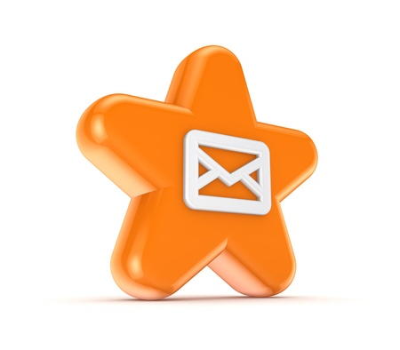 Orange star with a white envelope  photo