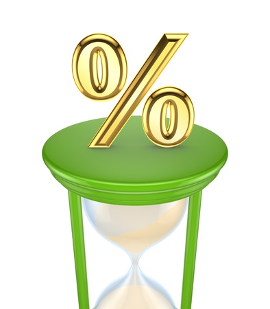 Golden Percent symbol on a green sand glass  Stock Photo - 15672168