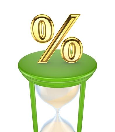 Golden Percent symbol on a green sand glass Stock Photo - 15672168
