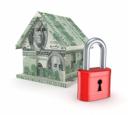 3d small house made of dollars and red lock Stock Photo - 15667799