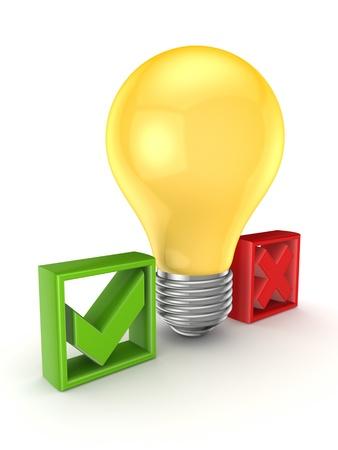 Idea symbol between tick and cross marks Stock Photo - 15648982