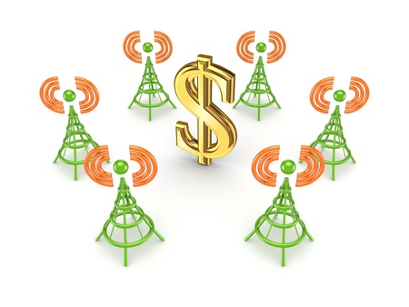 Stylized antennas around dollar sign Stock Photo - 15668816