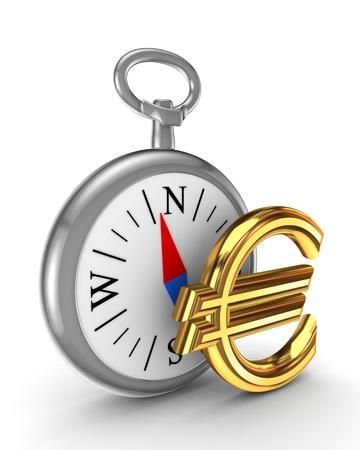 compas: Retro compas and euro sign  Stock Photo