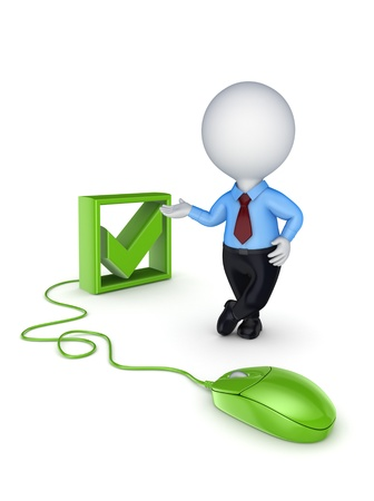 Green mouse, tick mark and 3d small person Stock Photo - 15623405