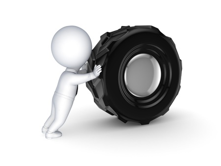 3d small people with a black wheel  Stock Photo