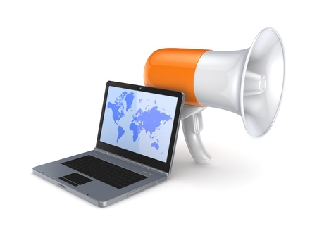 Megaphone and modern mobile phone  Stock Photo - 15648905