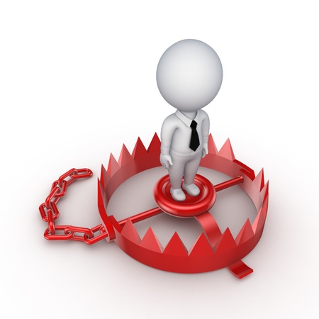 3d small person on a red trap  Stock Photo - 15672481