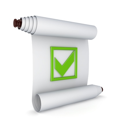 green tick: Green tick mark on ancient scroll