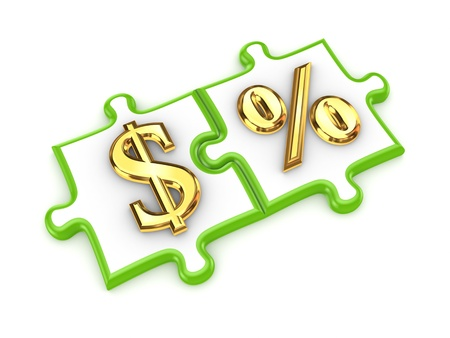 diversified: Puzzles with dollar and percents symbols  Stock Photo
