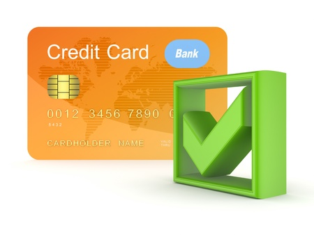 green tick: Green tick mark and orange credit card