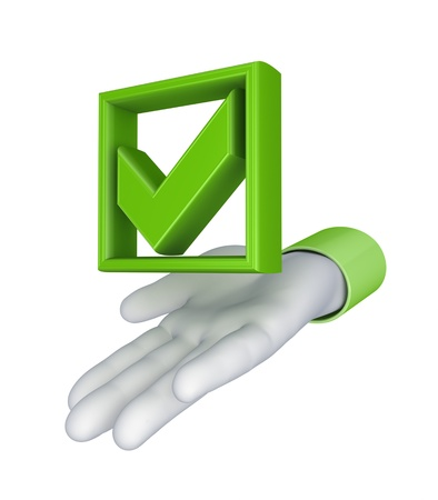pay: Stylized hand and green tick mark
