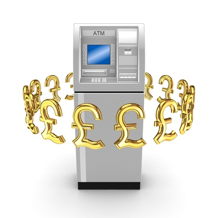 Pound sterling signs around ATM  Stock Photo - 15668851