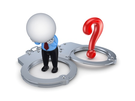 Sad 3d small person, handcuff and red query mark Stock Photo - 15649106
