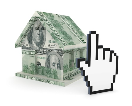 Small house made of dollars and large cursor  Stock Photo - 15668593