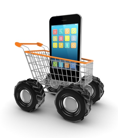 Modern mobile phone in a shopping trolley  photo