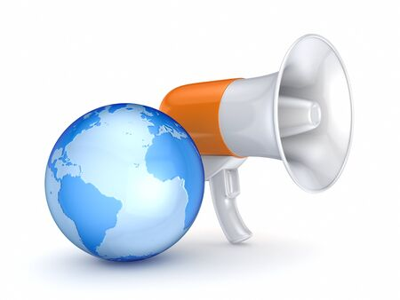 Megaphone and earth  Stock Photo - 15648975