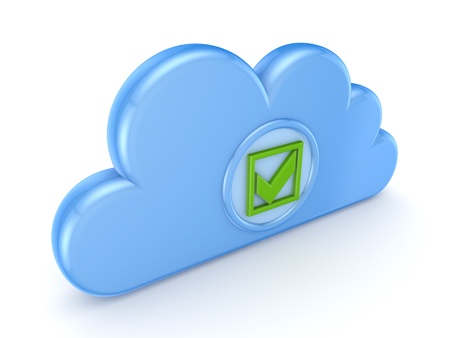 Blue cloud with green tick mark Stock Photo - 15648933