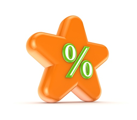 Orange star with a green percents symbol  Stock Photo - 15649367